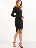 Black Thumb Hole Sleeve Asymmetric Dress - Crystalline