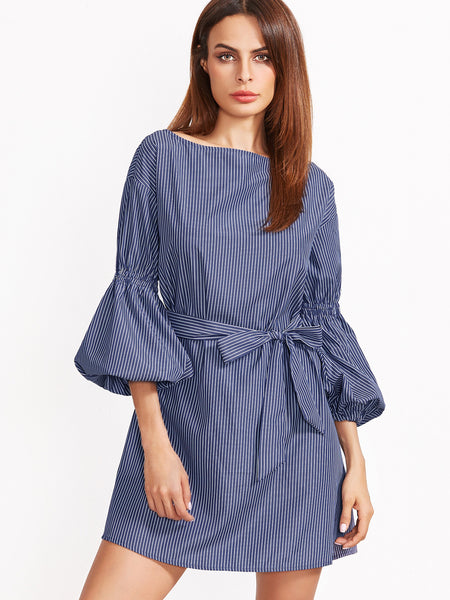 Blue Striped Self Tie Lantern Sleeve Mini Dress