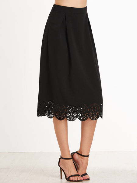 Black Scallop Pleated Skirt