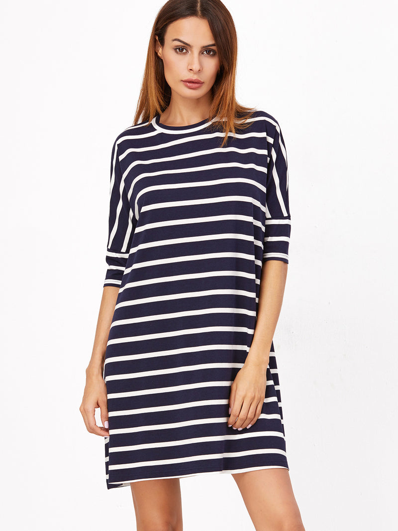 Navy and White Striped Tee Dress - Crystalline