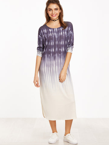 Purple Ombre Curved Hem Tee Dress
