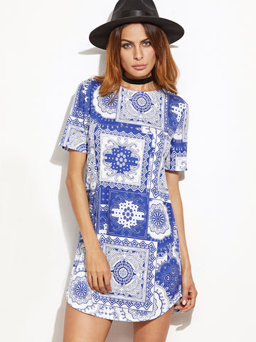 Blue and White Vintage Print Dress