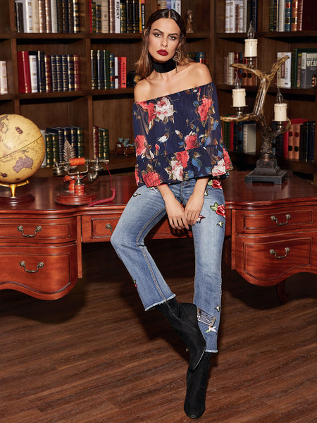 Multicolor Floral Off The Shoulder Blouse - Crystalline