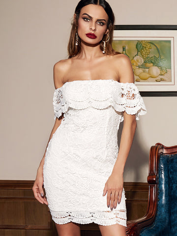 White Straight Across Lace Ruffle Bodycon Dress - Crystalline