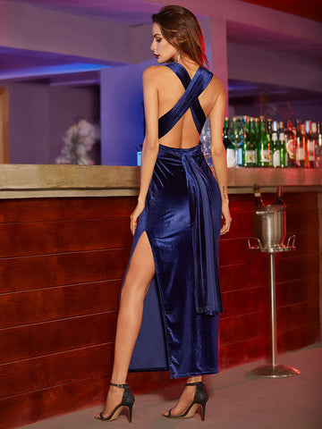 Blue High Slit Velvet Convertible Dress - Crystalline