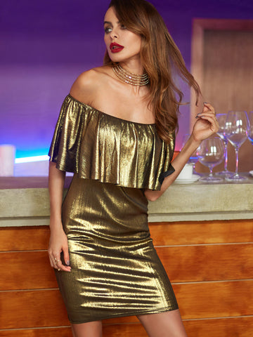 Gold Off The Shoulder Ruffle Dress - Crystalline