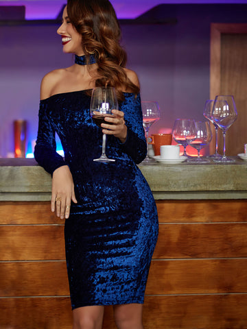 Navy Choker Neck Velvet Pencil Dress - Crystalline