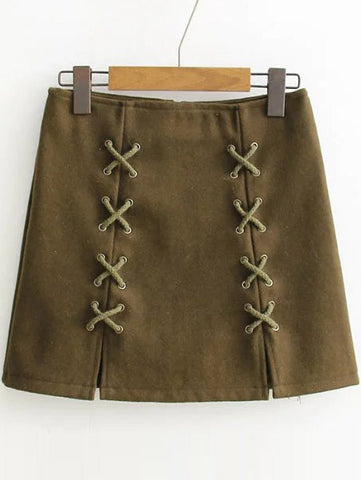 Army Green Back Zipper Skirt