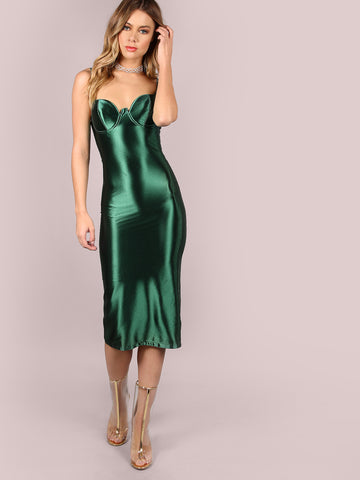 Green Bustier Sheath Dress