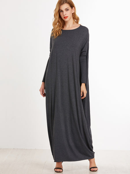 Heather Grey Round Neck Cocoon Maxi Dress