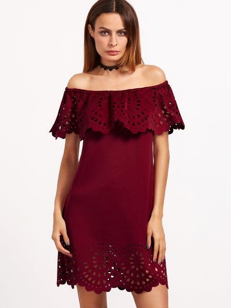 Burgundy Laser Cut Off Shoulder Dress - Crystalline