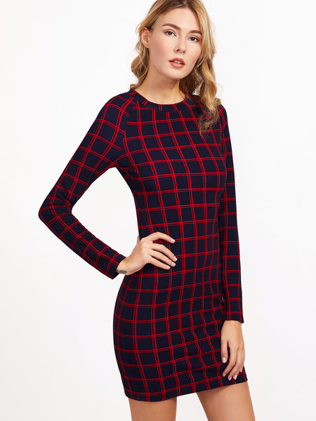 Navy And Red Plaid Pattern Bodycon Dress