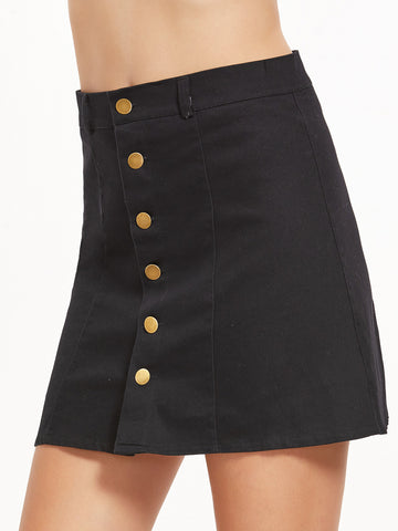 Black Breasted A-Line Skirt
