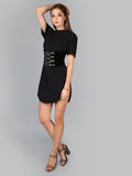 Black Splash Curved Tee Dress