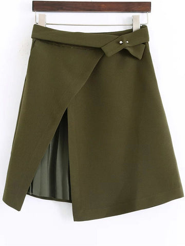 Army Green Asymmetrical Skirt