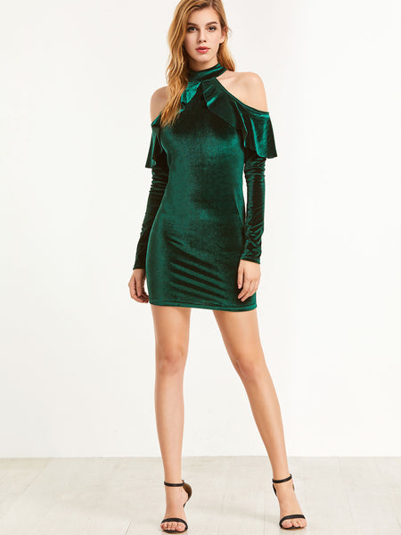 Green Ruffle Cold Shoulder Bodycon Dress