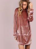 Pink Front Pocket Hoodie Dress