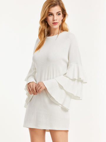 White Knit Ruffle Sleeve Dress - Crystalline