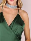 Green Wrap Low Back Satin Dress