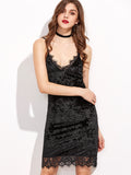 Black Velvet Lace Trim Spaghetti Strap Dress