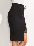 Black Ribbed Knit Lace Slit Skirt