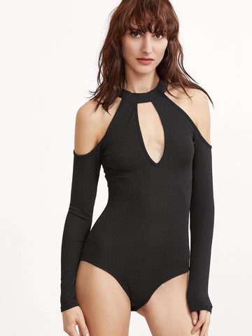Black Keyhole Cold Shoulder Bodysuit