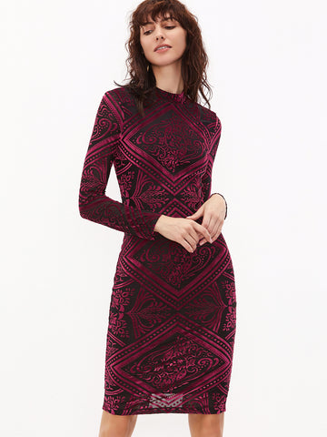 Burgundy Vintage Pencil Dress - Crystalline
