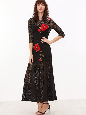 Black 3/4 Sleeve Hollow Out Crochet Cami Top Long Dress