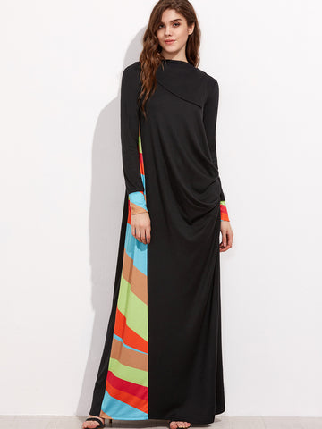 Black Colorful Striped Panel And Cuff Drape Dress