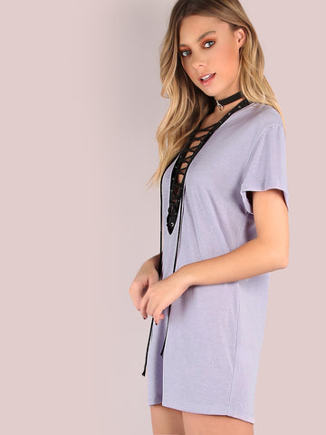 Purple V Neck Tee Dress