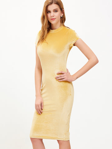 Gold Mock Velvet Pencil Dress