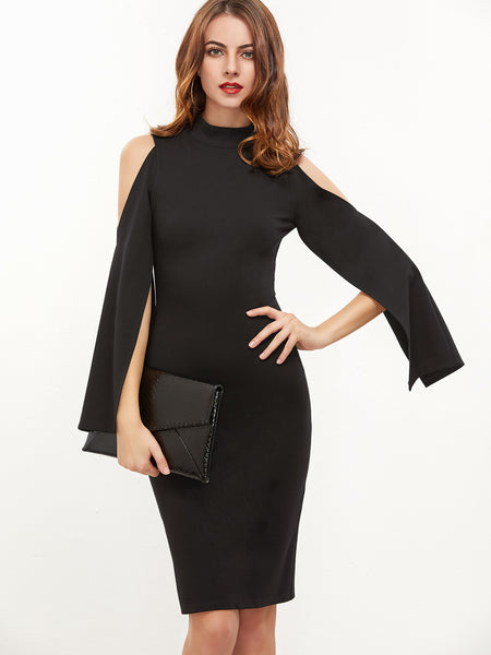 Black Open Shoulder Bodycon Dress