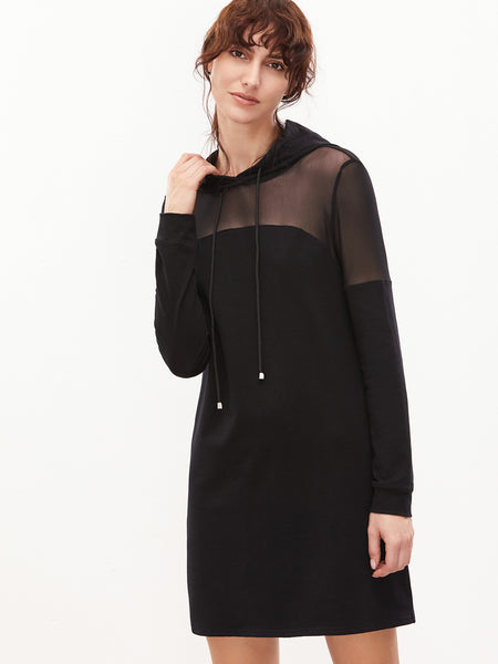 Black Sheer Hoodie Dress