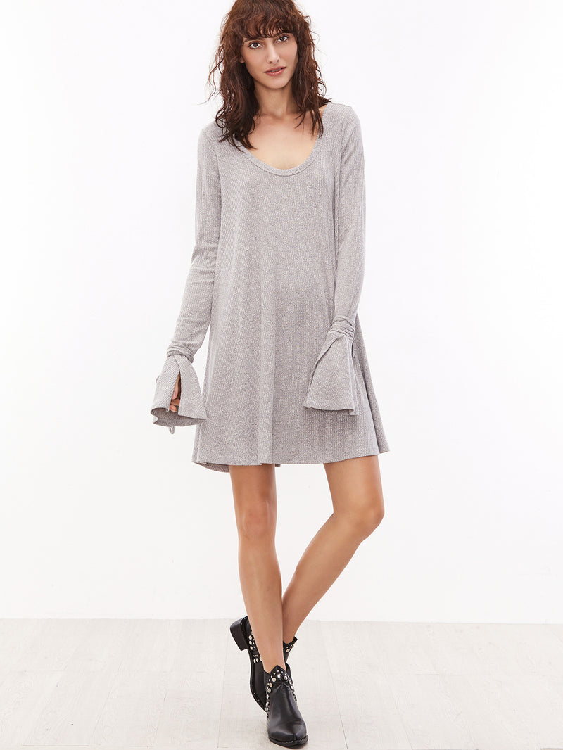 Grey Scoop Neck Cuff Ribbed Dress