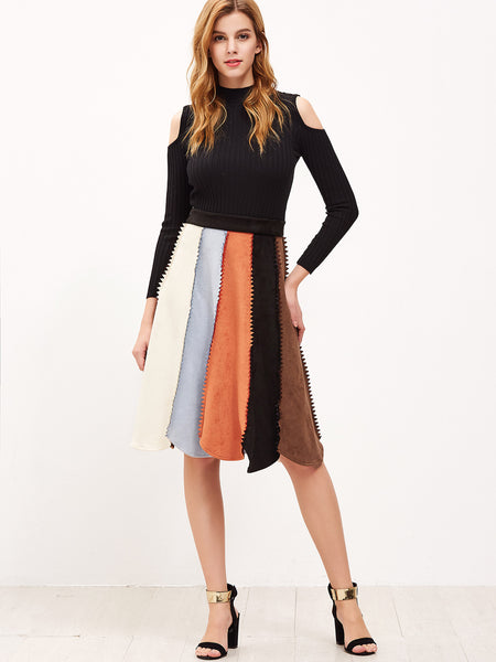 Color Block Chevron Seam Paneled Skirt