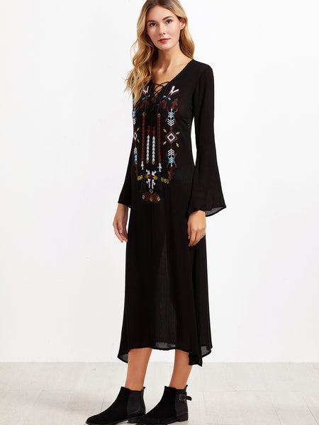 Black Embroidered Bell Sleeve Dress - Crystalline