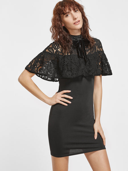 Black Tie Neck Lace Shoulder Bodycon Dress