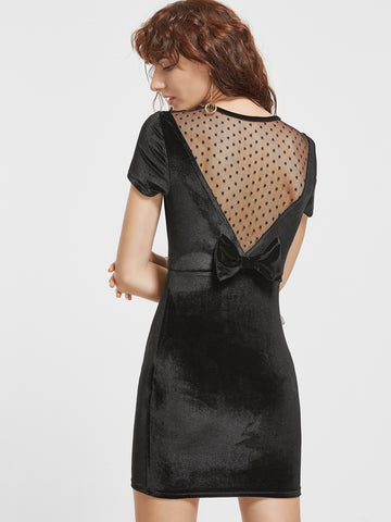 Black Dotted Mesh Velvet Dress