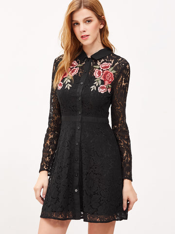 Black Embroidered Rose Dress - Crystalline