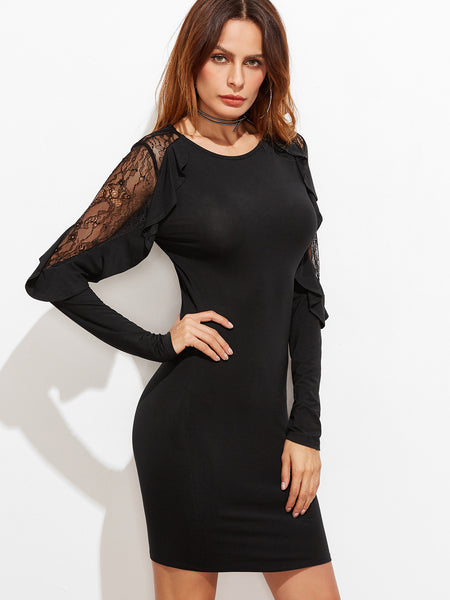 Black Lace Frilled Sleeve Tight Dress