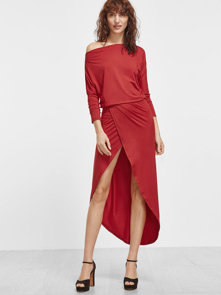 Red Asymmetric Overlap High Low Dress - Crystalline