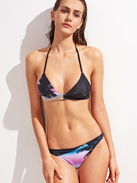 Black Tropical Print Halter Bikini Set