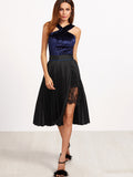 Black Lace Insert Pleated Skirt