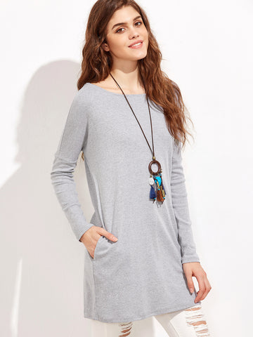 Grey V Cut Back Dress - Crystalline