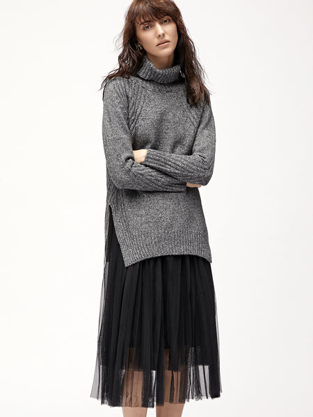 Dark Grey Turtleneck Side Slit Sweater