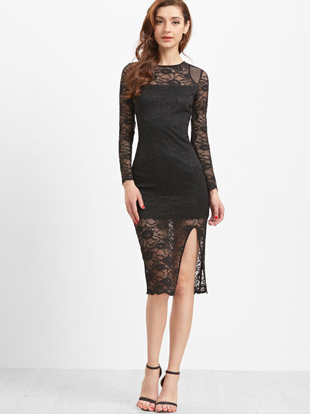 Black Sheer Floral Lace Dress