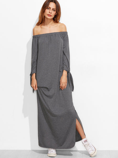 Grey Off Shoulder Tie Long Sleeve Side Slit Dress
