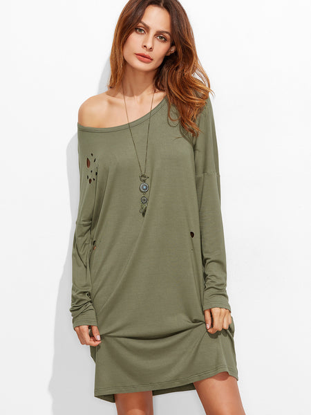 Olive Green Scoop Neck Distressed Tee Dress