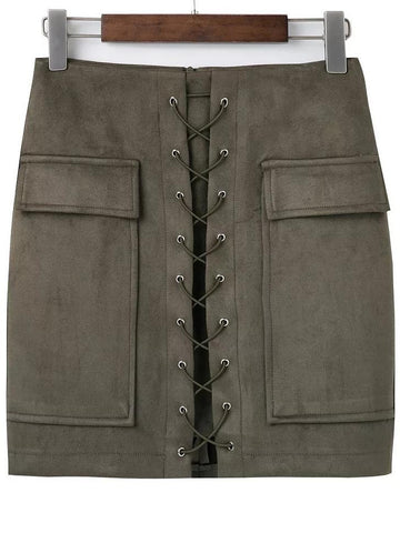 Army tie up Suede Skirt