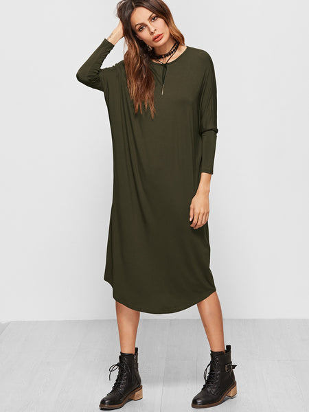 Olive Green Dolman Sleeve Tee Dress